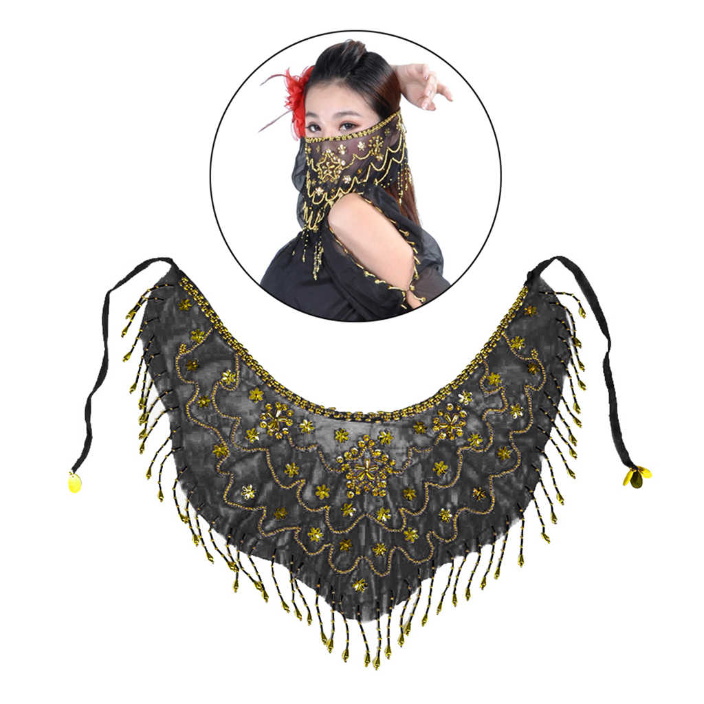 Indian Belly Dance Face Veil Bling Sequins Beads Tassel Dancing Costumes Cosplay
