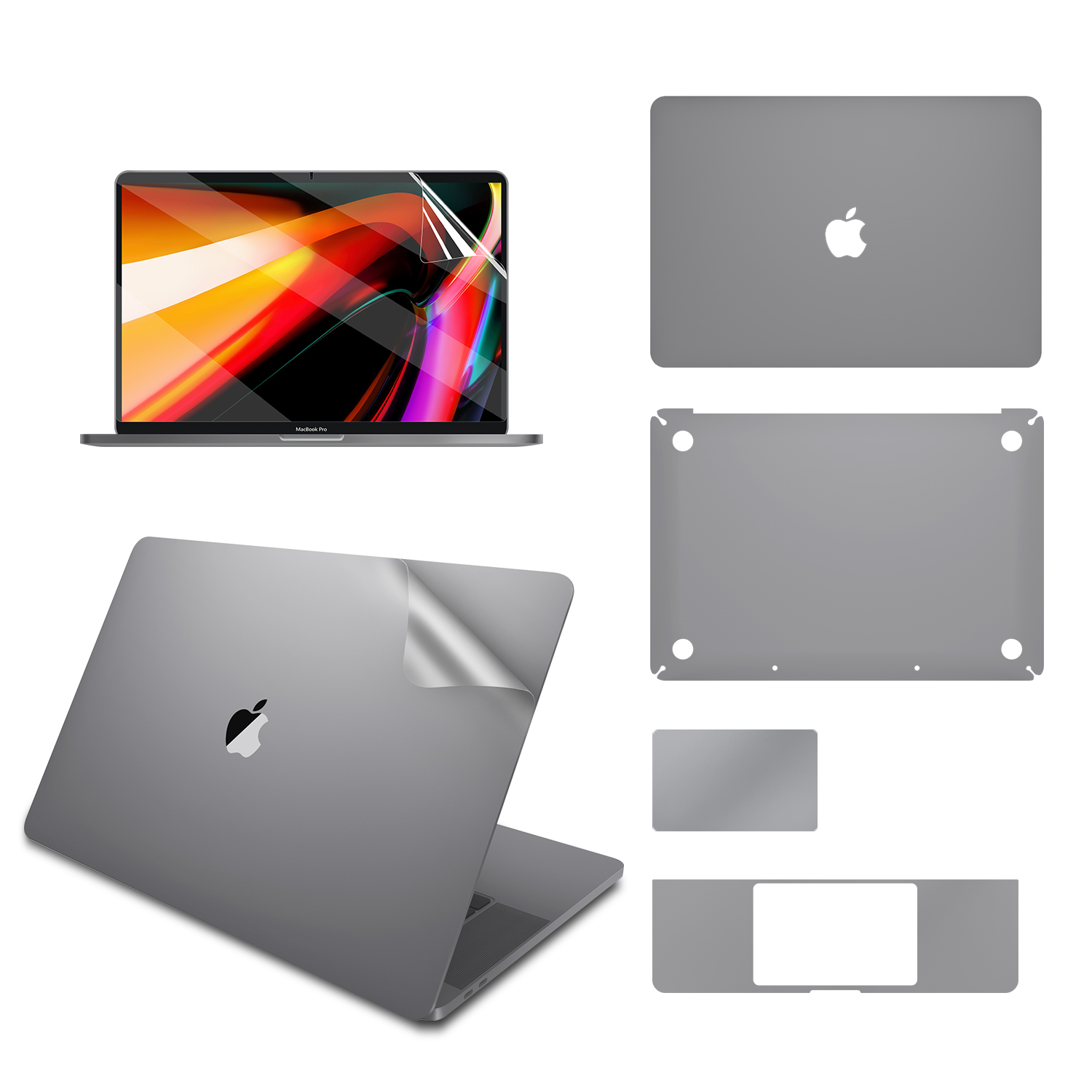 Full Body Sticker For 16-inch MacBook Pro A2141 Model , Include Top + Bottom + Touchpad + Palm Rest Skin + Screen Protector