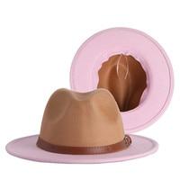 Fedora-Sombrero de Panamá para hombre y mujer, Sombrero de Panamá, accesorios de cinturón, color verde y rosa