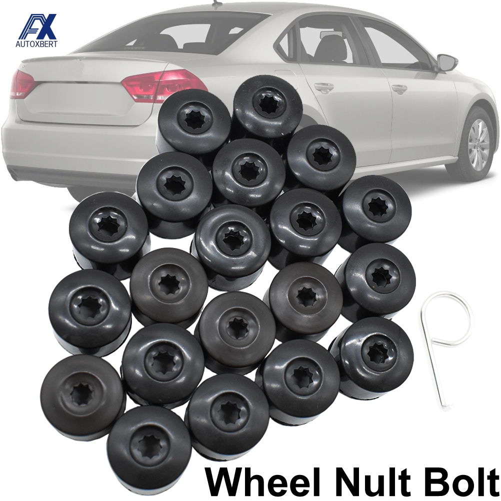 20x Wheel Nut Bolt Cap Full Cover w/ Removal Tool 28mm For VW Beetle EOS Golf Passat Wheel Lug Screw Caps Protector Accessories