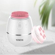Звуковая Вибрирующая щетка для очищения лица, две насадки, электрическое очищающее средство для лица, 4 режима отшелушивания и массажа, Беспроводная зарядка