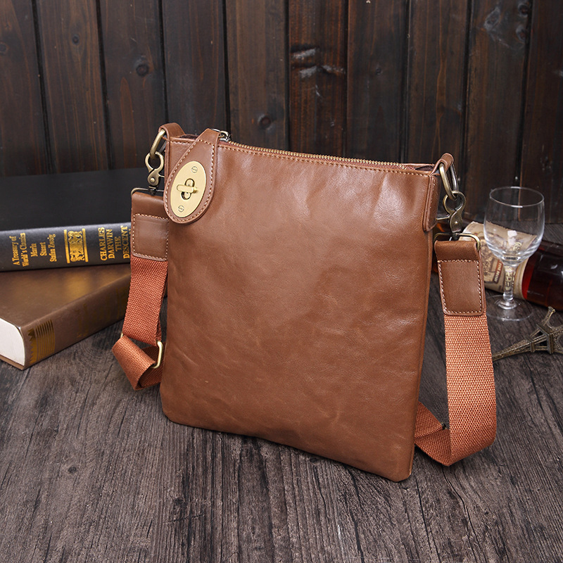 Fashion Shoulder Bag Men's Simple Retro Leather Messenger Bag Trend Men's Bag