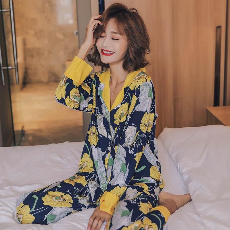 Autumn Winter Fresh Style Women Thin Pajama Set Comfort Loose Simple Style Fabric Turn-down Collar Long Sleeve Floral Homewear