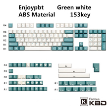 Enjoypbt keycap 153Key cherry height green white abs opaque material two-color injection molding use most mechanical keyboard
