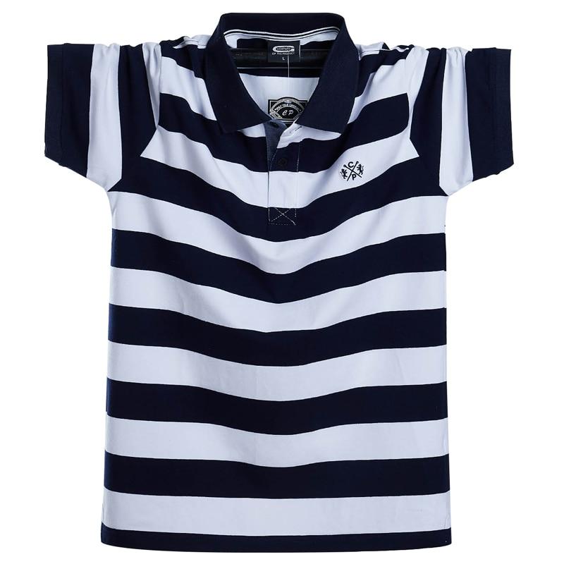 Men Polo Shirt Summer Men's Casual Breathable Plus Size 5XL 6XL Striped Short Sleeve Polo Shirt Pure Cotton Fashion Men Clothes