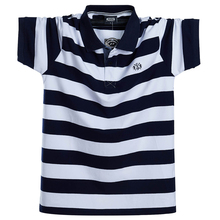 الرجال قميص بولو الصيف الرجال عادية تنفس حجم كبير 5XL 6XL مخطط قميص بولو بكم قصير قميص بولو القطن الخالص موضة الرجال الملابس