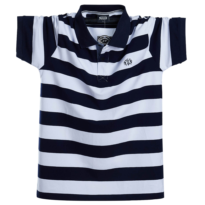 Men Polo Shirt Summer Men's Casual Breathable Plus Size 5XL 6XL Striped Short Sleeve Polo Shirt Pure Cotton Fashion Men Clothes