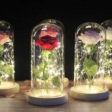 Прямая поставка; красная роза в стеклянном куполе; Светодиодный светильник; деревянная основа для подарка на Рождество и День святого Валентина