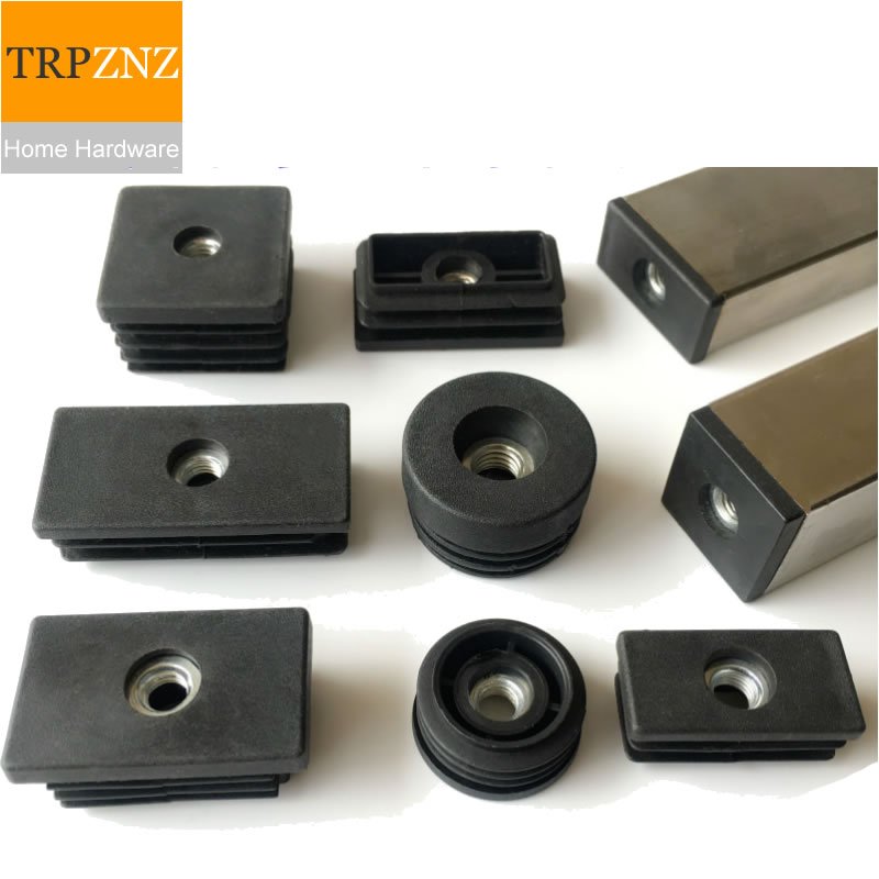 Black Square Tube Plug, With M8 Screws Hole,plastic Plug, Table Chair  Foot Pad, Furniture Foot Support