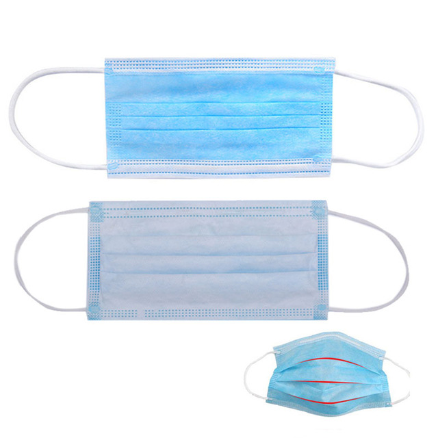 100pcs Non Woven Disposable Facemask 3 Layer Filter Cloth Hanging Ear Safety Elastic Anti Virus Anti Dust Fog Protective Masks 4