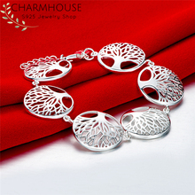 Charmhouse Silver Bracelets For Women Round Tree Chain Bracelet & Bangles Pulseira Femme Wristband Fashion Jewelry Wholesale все цены