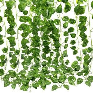 24 шт. искусственный Плющ гирлянда листва зеленые листья поддельные Висячие виноградные растения для свадебной вечеринки украшения стен са...