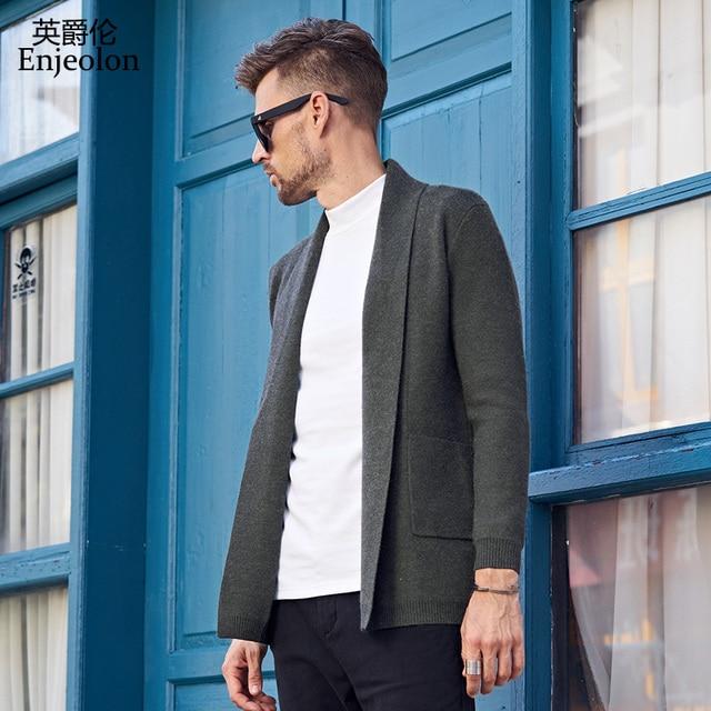 Enjeolon marque hiver à manches longues tricoté Cardigan chaud pull homme vêtements solide vêtements pull de grande taille MY3218