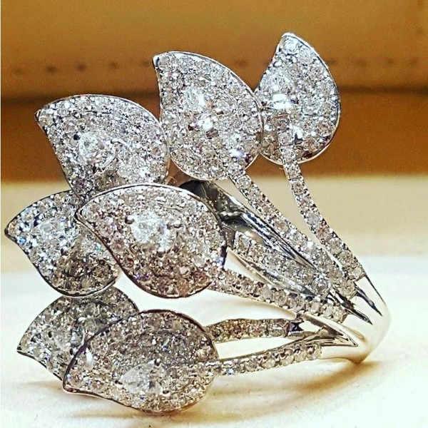 Роскошное женское кольцо с маленьким циркониевым камнем, Винтажное кольцо с большим серебряным цветком розы, обручальное кольцо, уникальный стиль, любовь, обручальные кольца для женщин