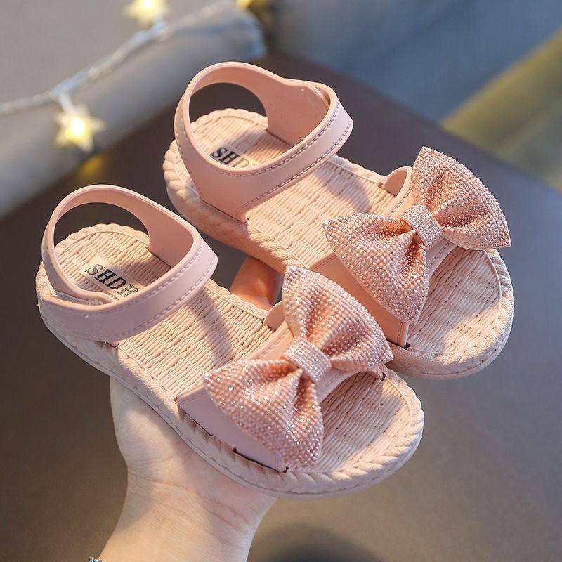Girl Shoes Butterfly knot Non slip Soft Kids Toddler Baby Shoes Summer Korean Children's Girls Princess Open Toe Beach Sandals