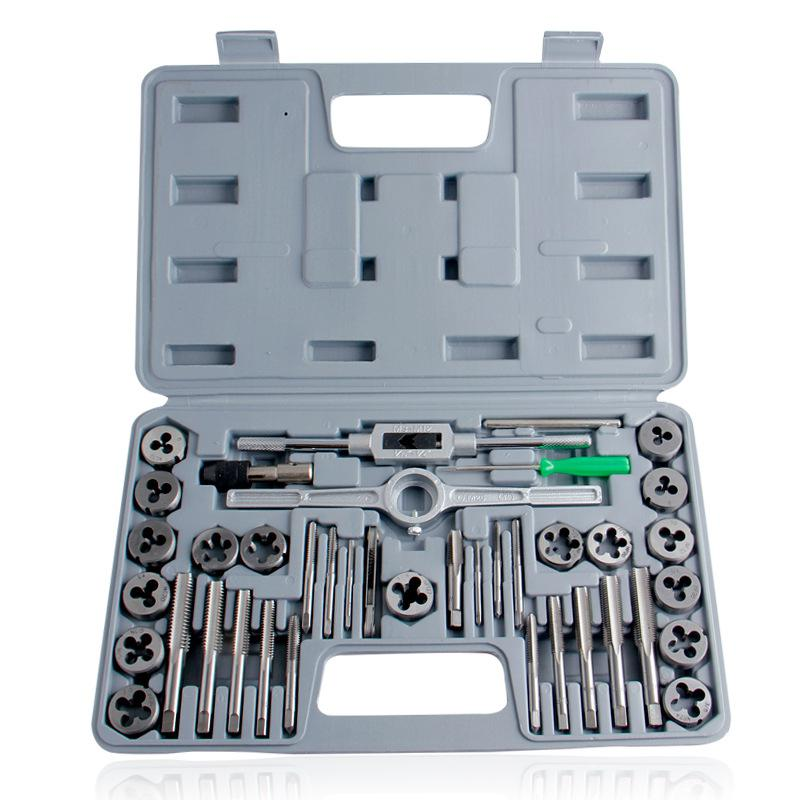 Litake 40pcs Tap Die Set Hand Thread Plug Taps Handle Alloy Steel Inch Threading Tool With Case