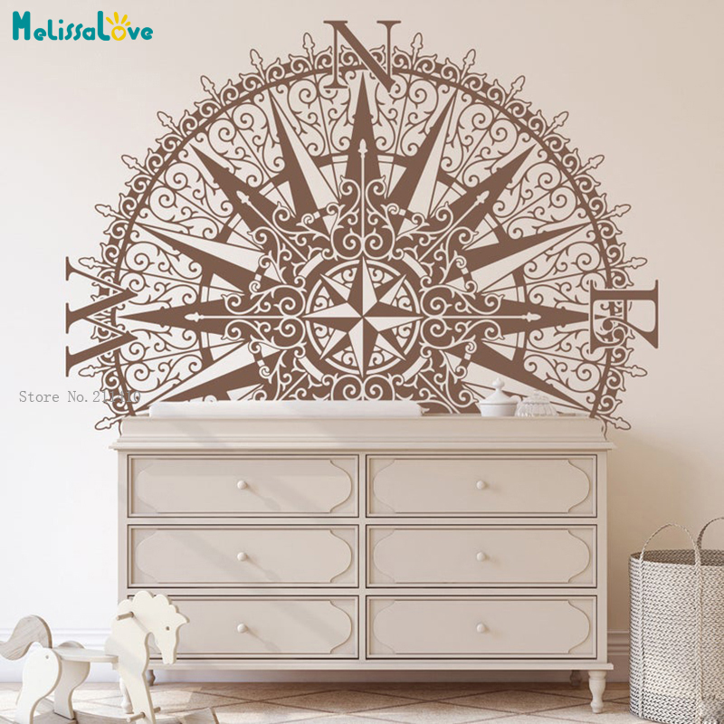 Medallion Compass Wall Decal The Sherlock Fits On Walls Ceilings Removable Home Decoration New Art Murals YT5357A