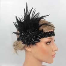Women's vintage feather headband black rhinestone 20s flapper