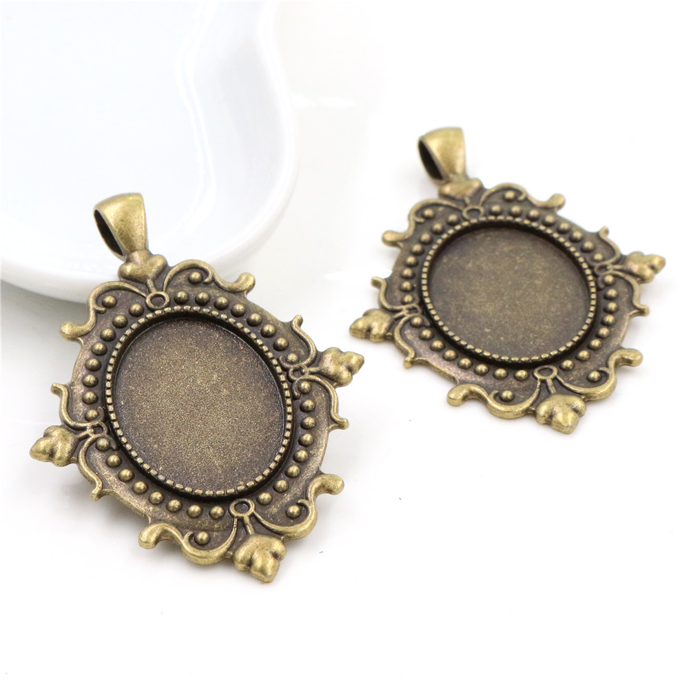 5pcs 18x25mm Inner Size Antique Bronze Baroque Style Cameo Cabochon Base Setting Charms Pendant Necklace Findings (C3-59)