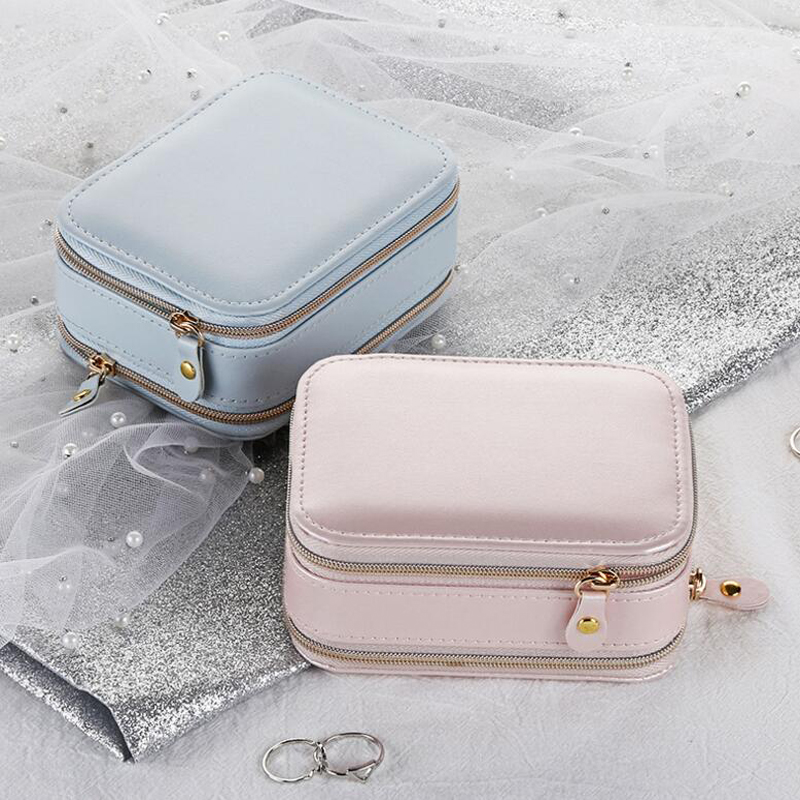 Travel Portable Zipper Jewelry Bags Stud Earrings Solid Jewelry Storage Box Camping And Travel Supplies