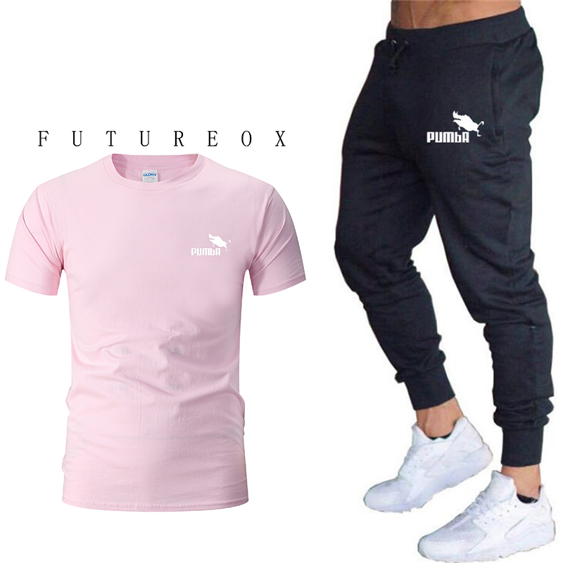 Summer New Men And Women Printed Cotton Loose Section Short Sleeve + Pants Casual Clothes Short Sleeve T-shirt Sports Suit Fitne
