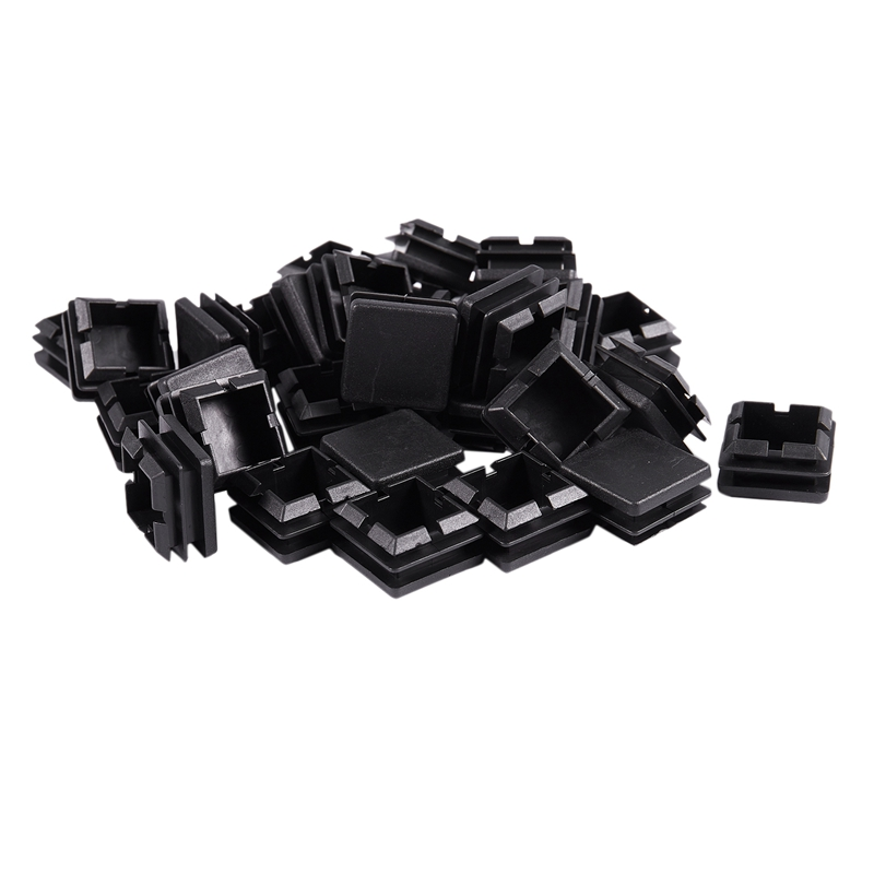 Square Table Chair Leg Tube Pipe Feet Insert Cap 25mmx25mm 30pcs Black