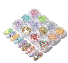 12 colour Nail Glitter Mix Powder Sequins Nail Sparkles Shiny Makeup Glitter pigment powder Nail Art Decoration Nails Set Ar