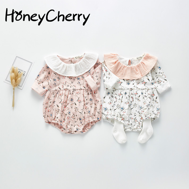 2020 Spring New Baby Bodysuit Happy Clothes Girl Little Flower Baby Collar One Piece Creeper Newborn Baby Girl Clothes
