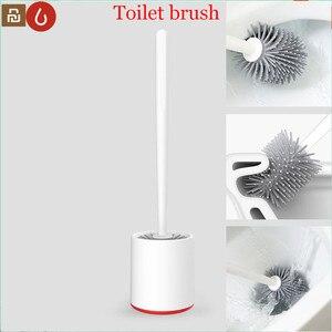 Image 1 - Youpin YJ rangement Vertical brosse de toilette colle douce poils brosse de toilette et support ensemble salle de bain pour xiaomi toilette outil de nettoyage