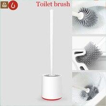 Youpin yj conjunto vertical de escova de vaso sanitário, armazenamento macio cerdas de cola e suporte para banheiro, ferramenta de limpeza de vaso sanitário xiaomi