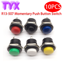 10PCS 16mm Momentary Button Switches 6A/125VAC 3A/250VAC Round Button Jog Switch R13-507 Black Red Green White Blue Yellow
