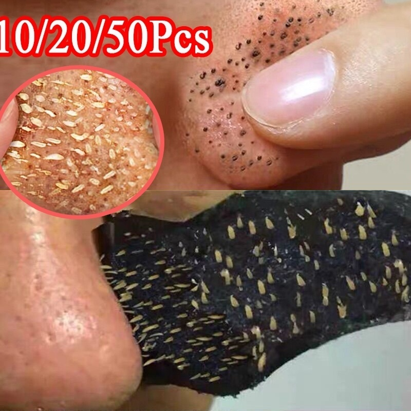 50pc Bamboo Charcoal Blackhead Remover Mask Blackhead Spots Acne Treatment Mask Nose Sticker Cleaner Nose Pore Deep Clean Strip