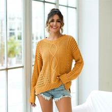Plus Size Womens Solid O-Neck Autumn winter sweaters Long Sleeve Pullover Hollow knitted Sweater Top high quality blouse