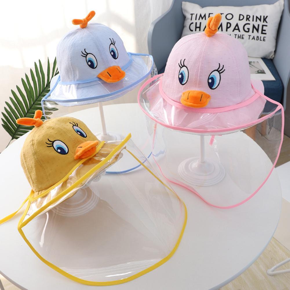 Kids Cartoon Duck Anti-fog Detachable With Shield Sun Cap Bucket Hat