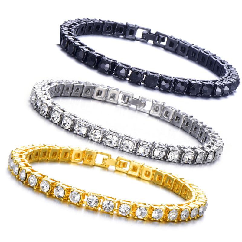 1PC Hip hop Black Silver Crystal Zircon Golden Rose Golden Bling Iced Out Cubic Zirconia Link Chain Jewelry Tennis Chain,Black,7 inch