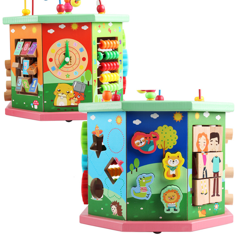 Eight-Sided Multi-functional Intelligence Large Bead-stringing Toy Children Treasure Chest Infants Early Education Parent And Ch