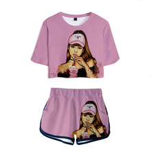 Ariana Grande Two Piece Set Short Pants T Shirt Women Lovely Sexy Crop Tops Fema