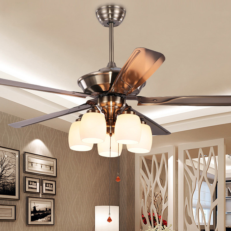 Nordic Modern Retro Light Strong Wind Mute Smart Ceiling Fan with Lights Bedroom Ceiling Lamp with Remote Control