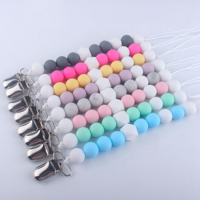 Trend  1Pcs Baby Pacifier Chain Solid Color Beaded Appease Infants Products Silicone Nipple Clip Anti-chai