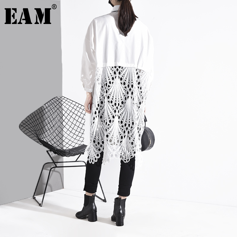[EAM] Women Back Lace Hollow Out Big Size Long Blouse New Lapel Long Sleeve Loose Fit Shirt Fashion  Spring Autumn 2020 1S025