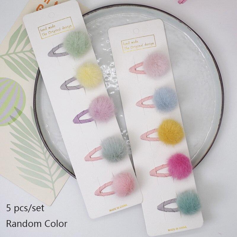Купить oaoleer 5 шт/партия детские заколки для волос с помпонами милые
