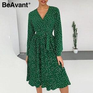 Image 4 - BeAvant סקסי v צוואר קצר המפלגה שמלת ירוק סרט אלגנטי שמלת פנס שרוול יחיד חזה אונליין מיני שמלת הקיץ