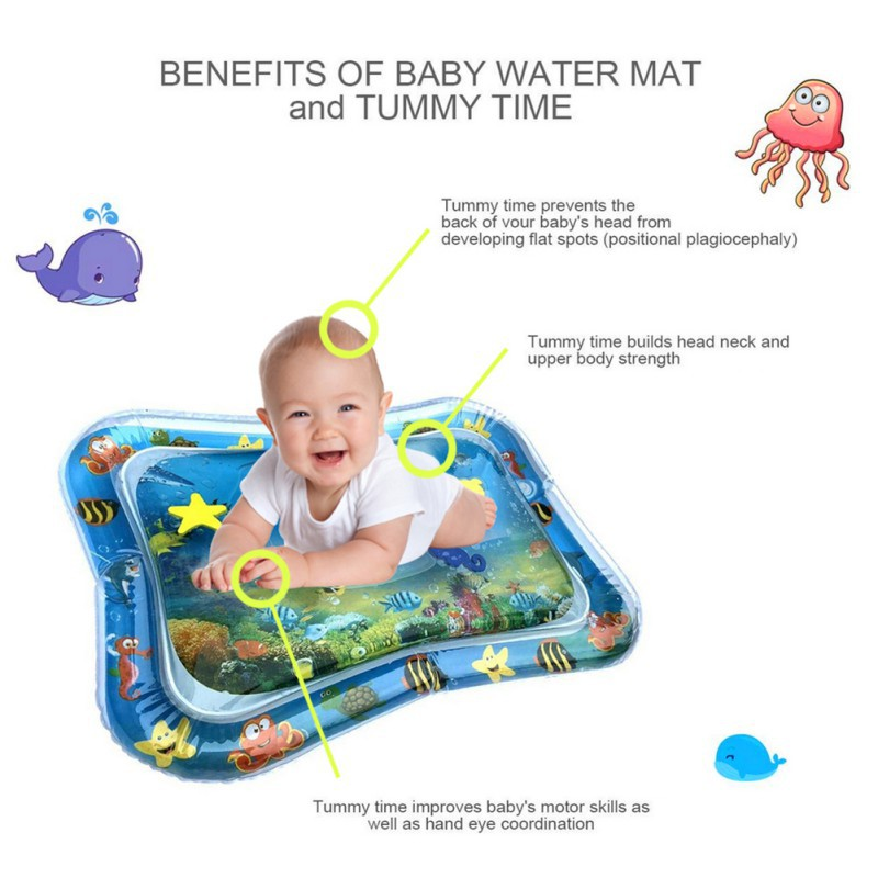 1pc Cartoon Pattern Water Play Mat Inflatable Baby Infant Fun Activity Center PVC Water Filled Playmat