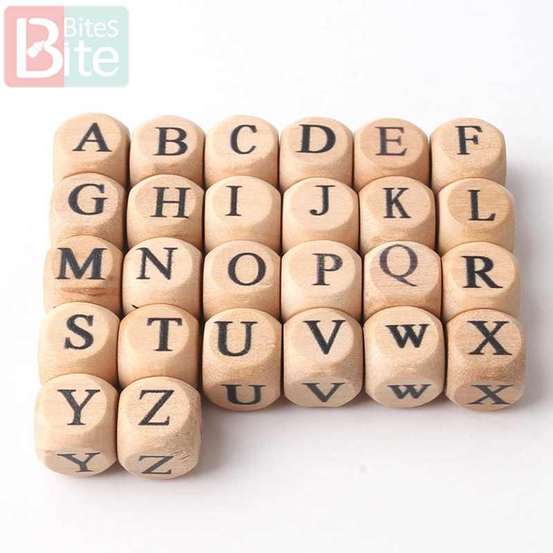 Bite Bites 10PCS Wooden Letter Alphabet Baby Teether DIY Teething Pacifier Chain Nursing Necklace Bracelet Baby Gift Teether Toy