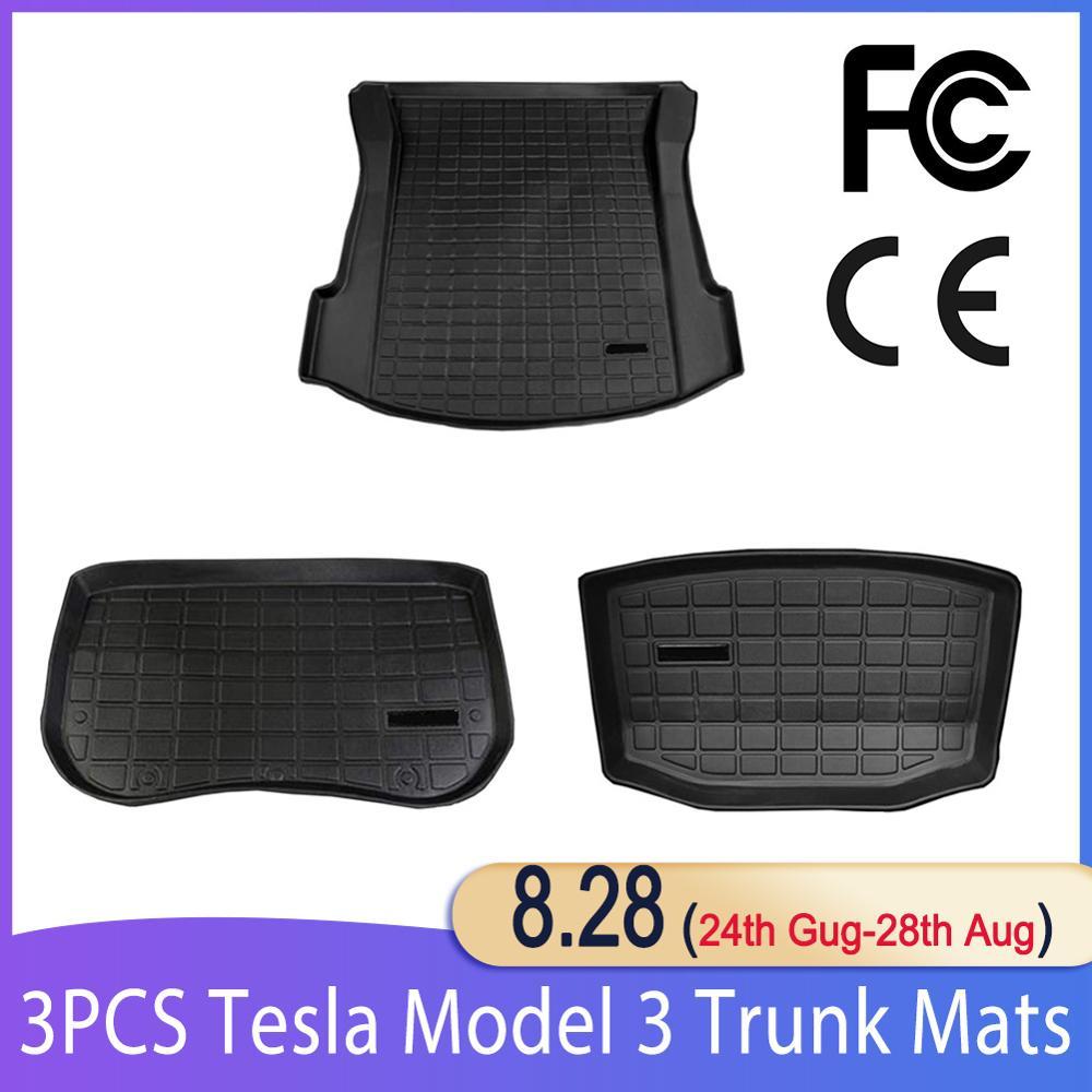 Для Tesla Model 3, коврики для багажника, подгонянный Автомобильный задний багажник, коврик для хранения груза, лоток для багажника, водонепрониц...