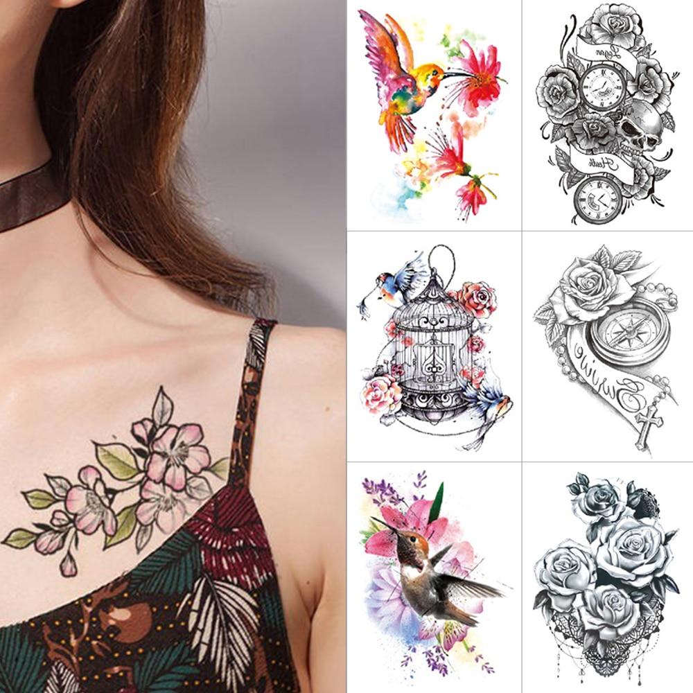 Black Temporary Tattoo Stickers Flower Clock Waterproof Tattoo Bird Butterfly Watercolor Tattoo For Men Women High Quality