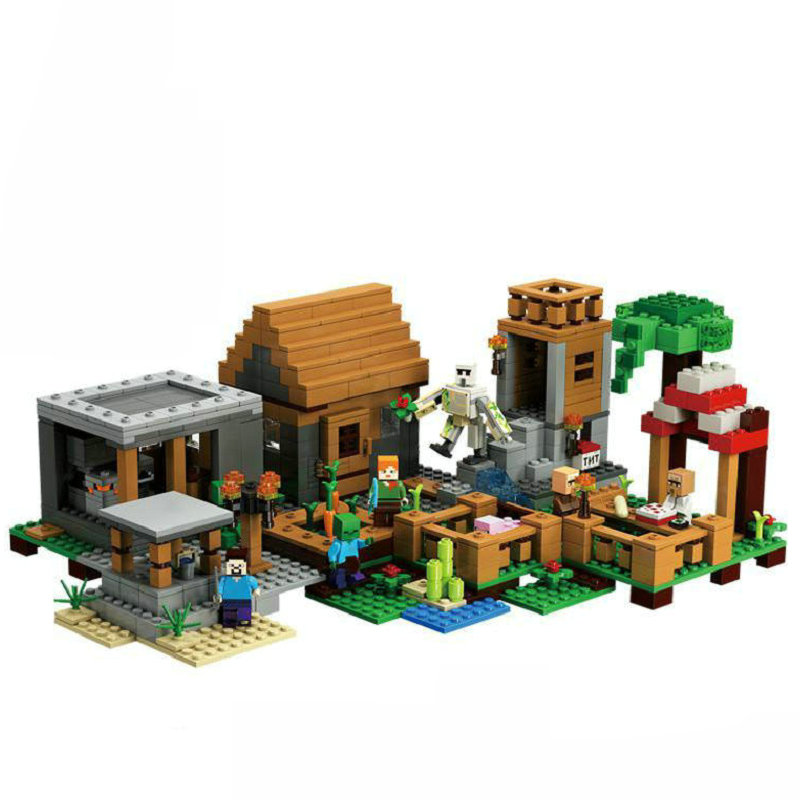 The Village Special Edition Building Blocks With Steve Action Figures Compatible My World MinecraftINGlys Sets Toys 21128