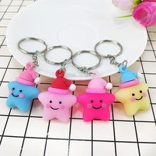 New creative PVC Soft glue material cartoon smiling face Pentagram key buckle pendant girl bag toy small Gift
