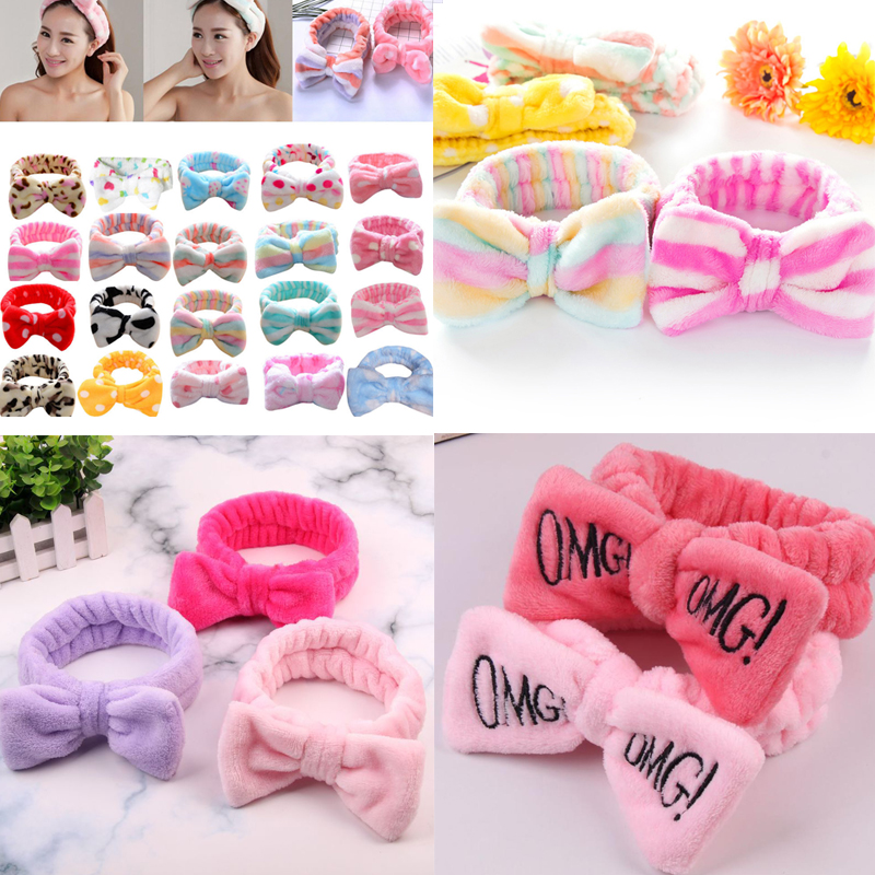 2020 New OMG Letter Coral Fleece Wash Face Hairbands For Women Cute Soft Bow Girls Headbands Hair Bands Turban Hair Accessories