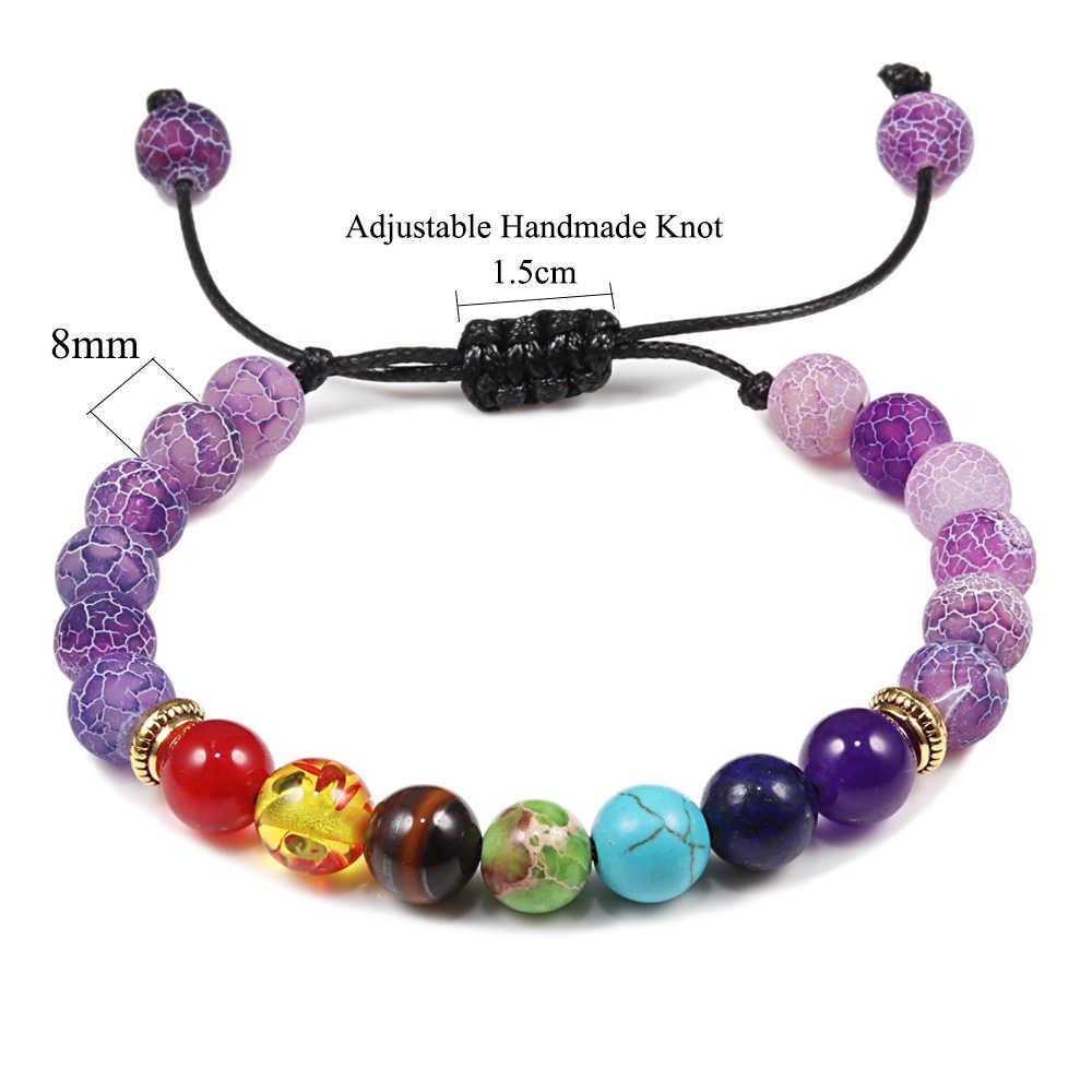 8mm pierre naturelle sept Chakra tissé perle Bracelets amour Bracelet bijoux à la main élégant Bracelet livraison directe cadeaux hommes femmes
